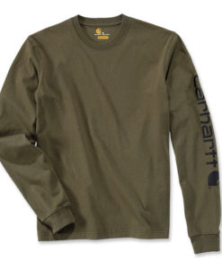 CARHARTT Logo Long Sleeve T-Shirt army green