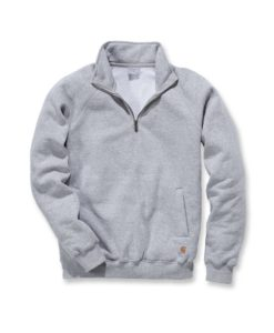 CARHARTT Midweight Quarter Zip Mock Neck Sweatshirt Heather Grey